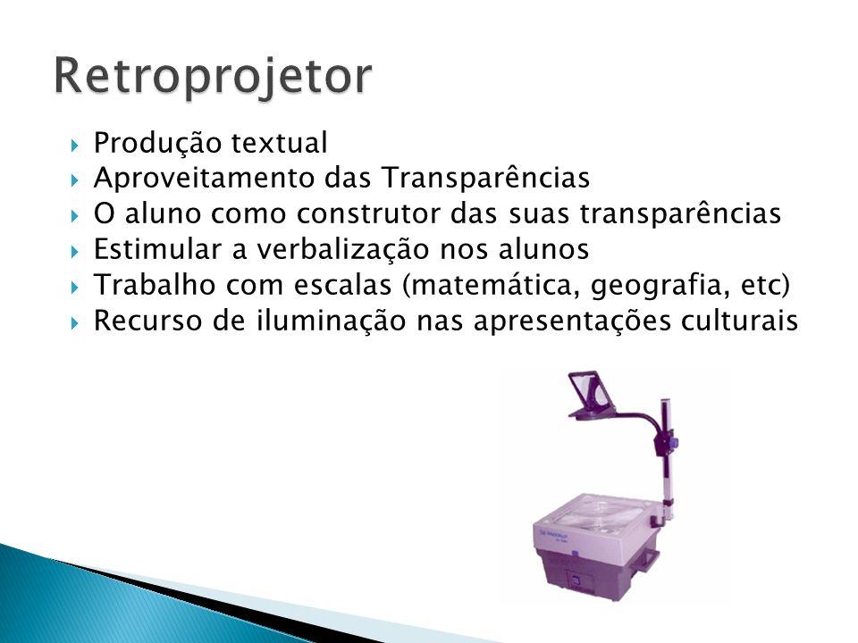  Produção textual  Aproveitamento das Transparências  O aluno como construtor das suas transparências  Estimular a verbalização nos alunos  Traba