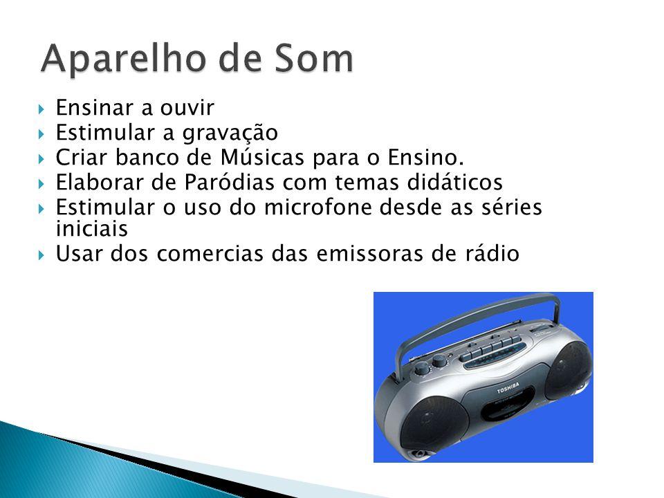  Ensinar a ouvir  Estimular a gravação  Criar banco de Músicas para o Ensino.  Elaborar de Paródias com temas didáticos  Estimular o uso do micro