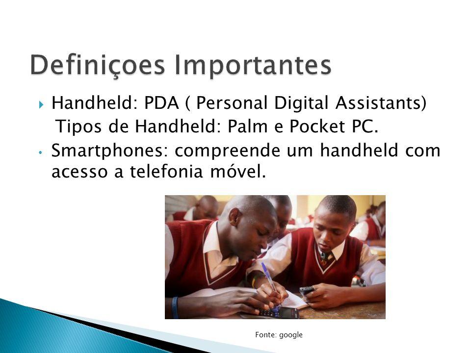  Handheld: PDA ( Personal Digital Assistants) Tipos de Handheld: Palm e Pocket PC. Smartphones: compreende um handheld com acesso a telefonia móvel.