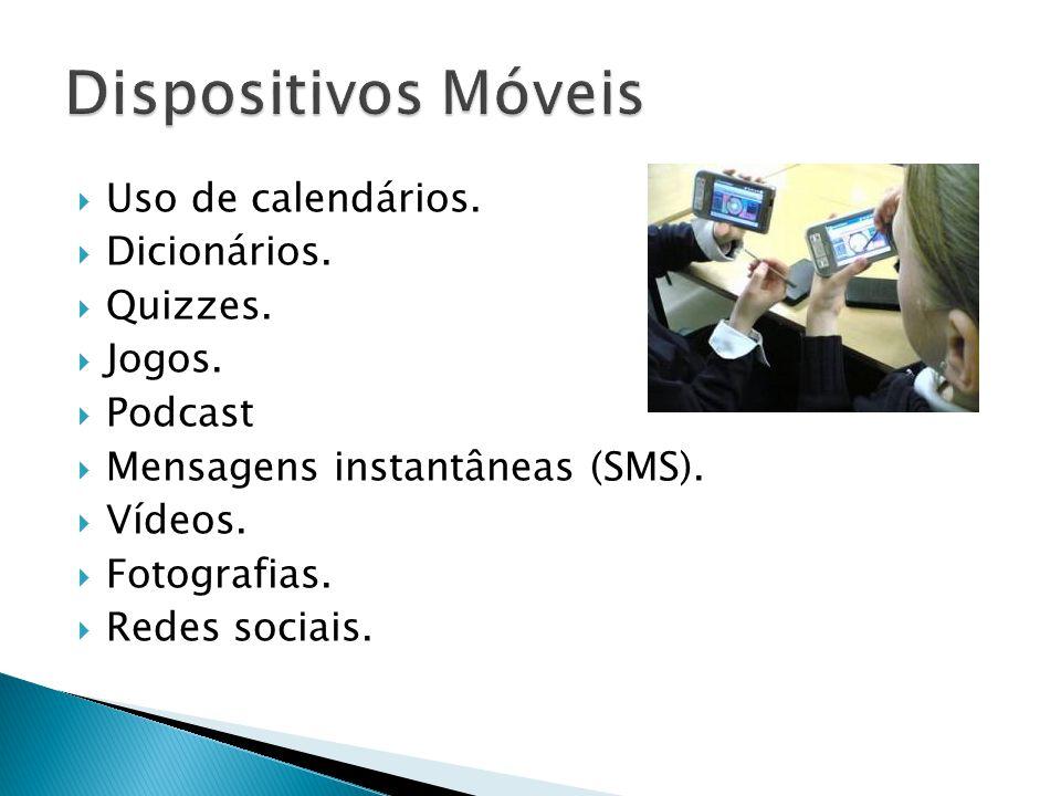  Uso de calendários.  Dicionários.  Quizzes.  Jogos.  Podcast  Mensagens instantâneas (SMS).  Vídeos.  Fotografias.  Redes sociais.