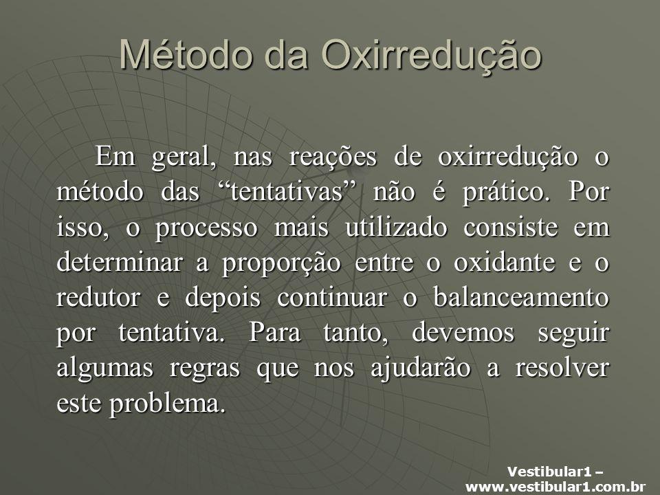 Vestibular1 – www.vestibular1.com.br Método da Oxirredução Em geral, nas reações de oxirredução o método das tentativas não é prático.