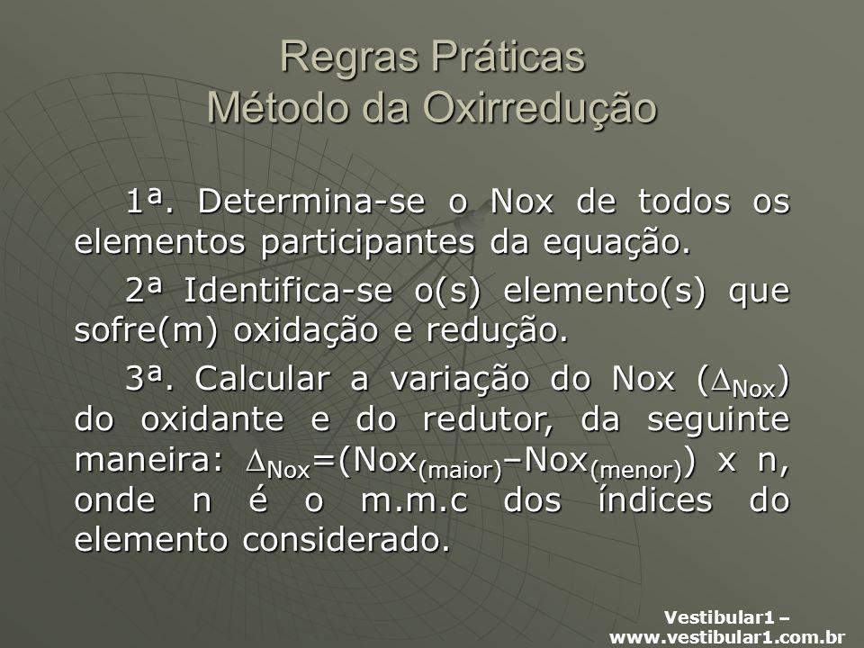 Vestibular1 – www.vestibular1.com.br Regras Práticas Método da Oxirredução 1ª.