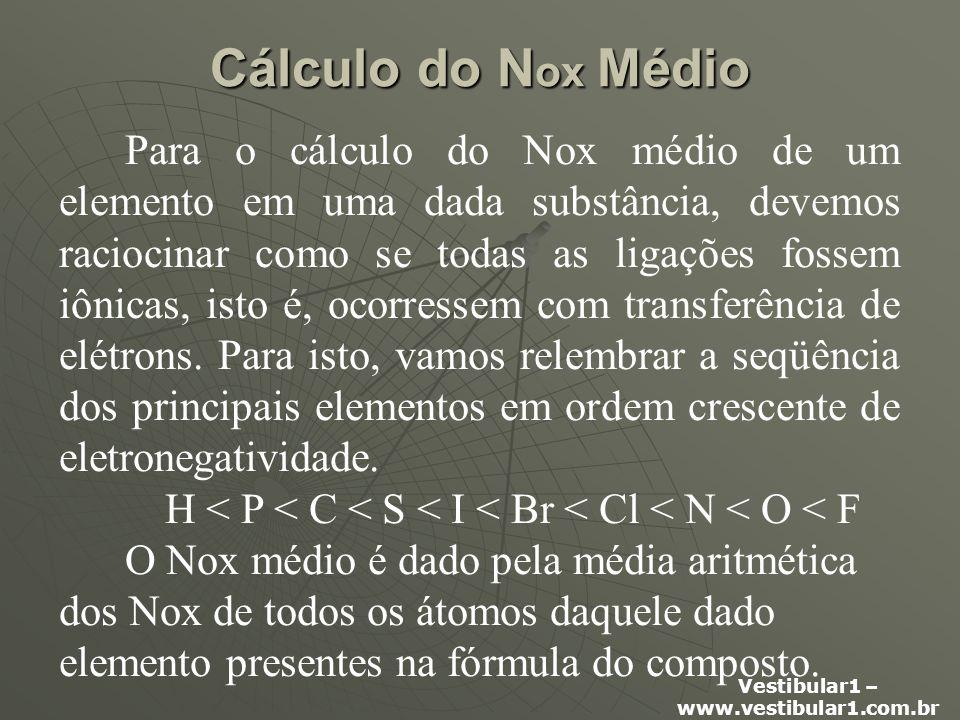 Vestibular1 – www.vestibular1.com.br Cálculo do N ox Médio Para o cálculo do Nox médio de um elemento em uma dada substância, devemos raciocinar como se todas as ligações fossem iônicas, isto é, ocorressem com transferência de elétrons.