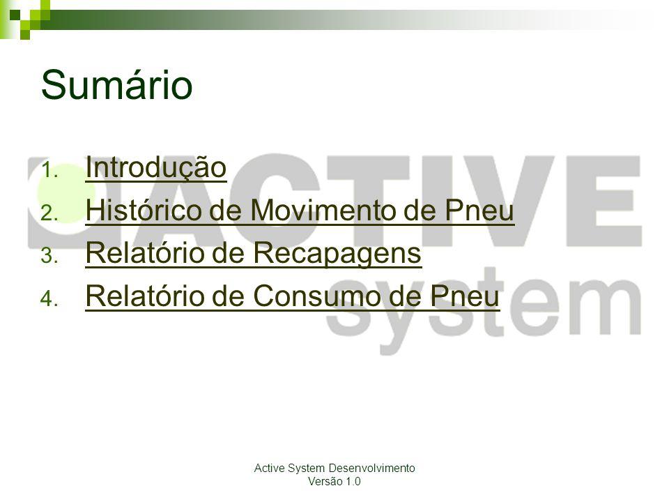 Active System Desenvolvimento Versão 1.0 Sumário 1. Introdução Introdução 2. Histórico de Movimento de Pneu Histórico de Movimento de Pneu 3. Relatóri