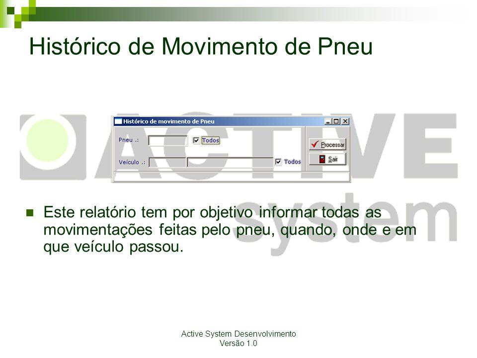 Active System Desenvolvimento Versão 1.0 Histórico de Movimento de Pneu Este relatório tem por objetivo informar todas as movimentações feitas pelo pn