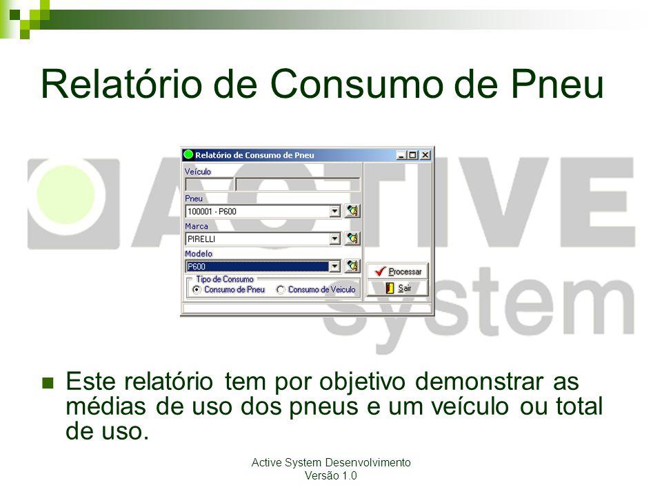 Active System Desenvolvimento Versão 1.0 Relatório de Consumo de Pneu Este relatório tem por objetivo demonstrar as médias de uso dos pneus e um veícu