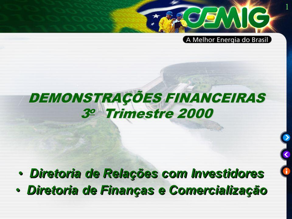 1 Diretoria de Relações com Investidores Diretoria de Finanças e Comercialização Diretoria de Relações com Investidores Diretoria de Finanças e Comercialização DEMONSTRAÇÕES FINANCEIRAS 3 o Trimestre 2000