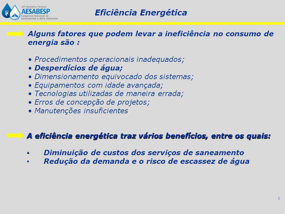 2 Alguns fatores que podem levar a ineficiência no consumo de energia são : Procedimentos operacionais inadequados; Desperdícios de água; Dimensionamento equivocado dos sistemas; Equipamentos com idade avançada; Tecnologias utilizadas de maneira errada; Erros de concepção de projetos; Manutenções insuficientes.