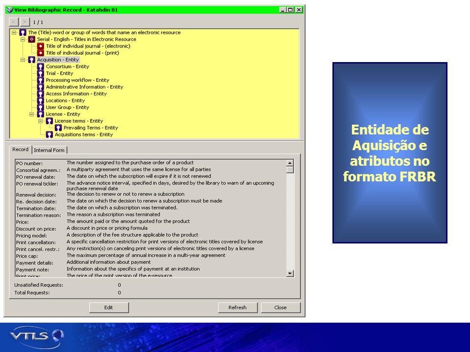 Entidade de Aquisição e atributos no formato FRBR