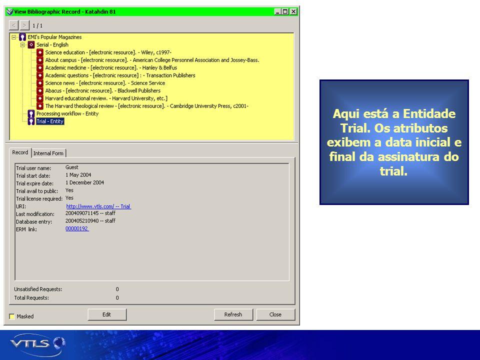 Aqui está a Entidade Trial. Os atributos exibem a data inicial e final da assinatura do trial.