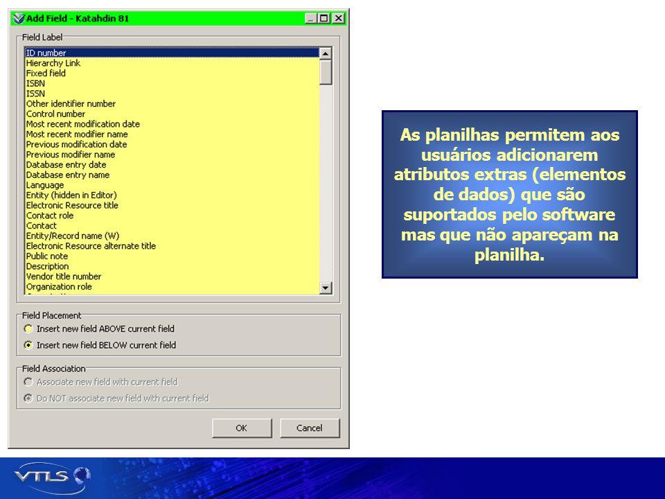 As planilhas permitem aos usuários adicionarem atributos extras (elementos de dados) que são suportados pelo software mas que não apareçam na planilha
