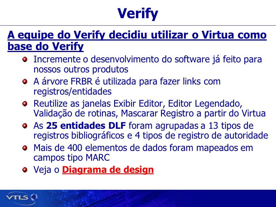 Verify A equipe do Verify decidiu utilizar o Virtua como base do Verify Incremente o desenvolvimento do software já feito para nossos outros produtos A árvore FRBR é utilizada para fazer links com registros/entidades Reutilize as janelas Exibir Editor, Editor Legendado, Validação de rotinas, Mascarar Registro a partir do Virtua As 25 entidades DLF foram agrupadas a 13 tipos de registros bibliográficos e 4 tipos de registro de autoridade Mais de 400 elementos de dados foram mapeados em campos tipo MARC Veja o Diagrama de designDiagrama de design