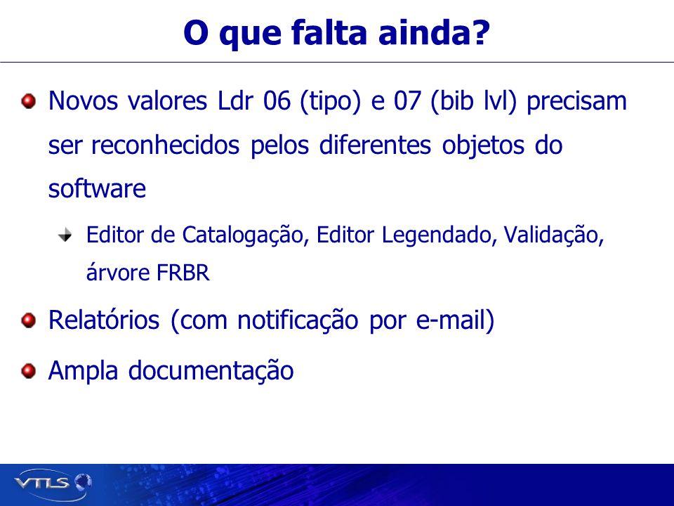 O que falta ainda? Novos valores Ldr 06 (tipo) e 07 (bib lvl) precisam ser reconhecidos pelos diferentes objetos do software Editor de Catalogação, Ed