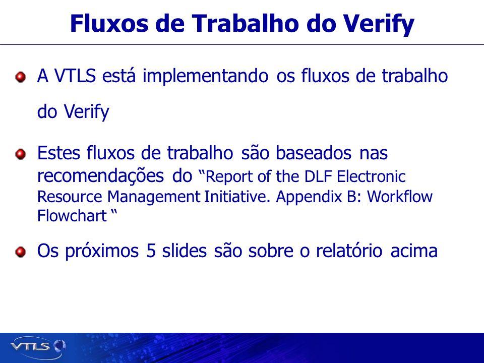 Fluxos de Trabalho do Verify A VTLS está implementando os fluxos de trabalho do Verify Estes fluxos de trabalho são baseados nas recomendações do Report of the DLF Electronic Resource Management Initiative.
