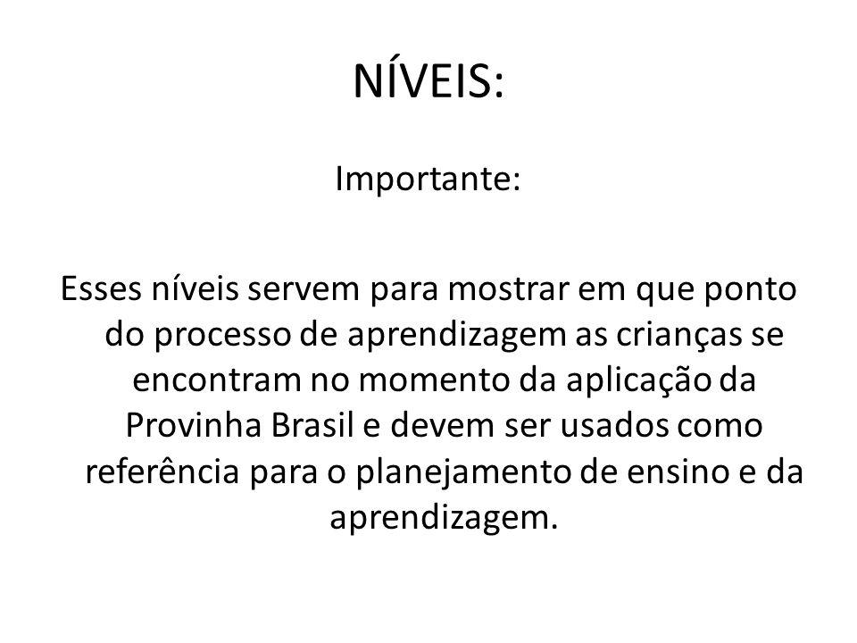 NÍVEIS: Importante: Esses níveis servem para mostrar em que ponto do processo de aprendizagem as crianças se encontram no momento da aplicação da Prov
