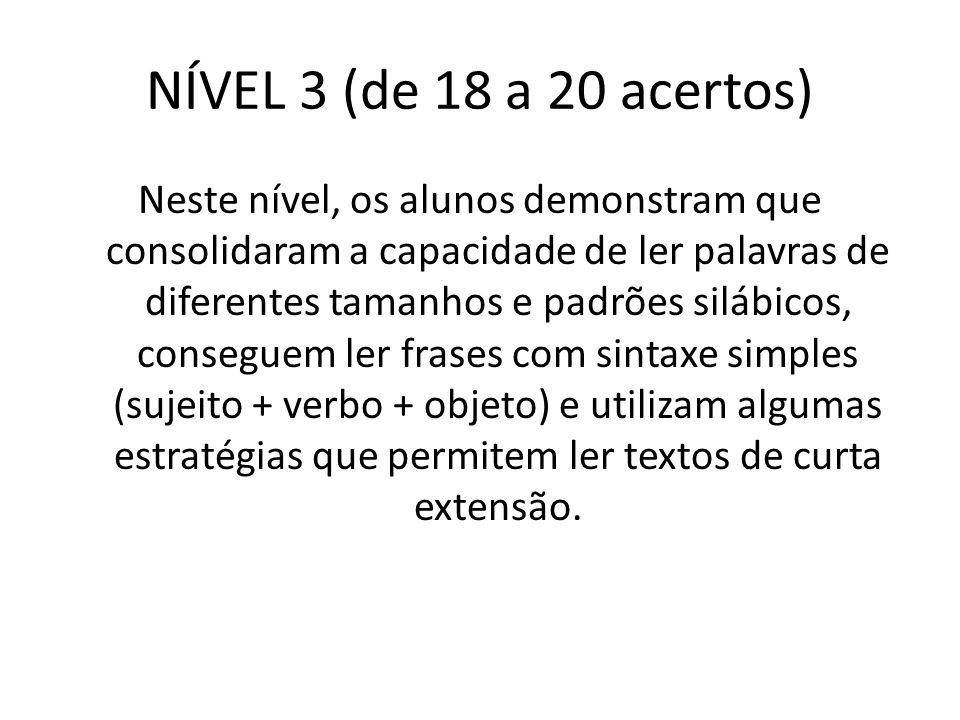 NÍVEL 3 (de 18 a 20 acertos) Neste nível, os alunos demonstram que consolidaram a capacidade de ler palavras de diferentes tamanhos e padrões silábico