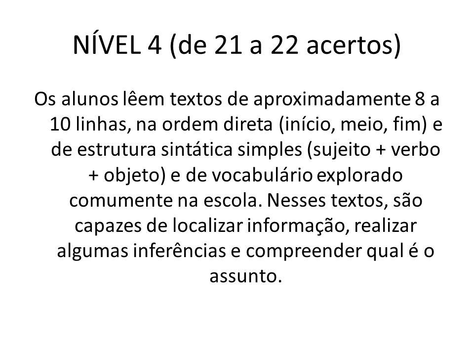 NÍVEL 4 (de 21 a 22 acertos) Os alunos lêem textos de aproximadamente 8 a 10 linhas, na ordem direta (início, meio, fim) e de estrutura sintática simp