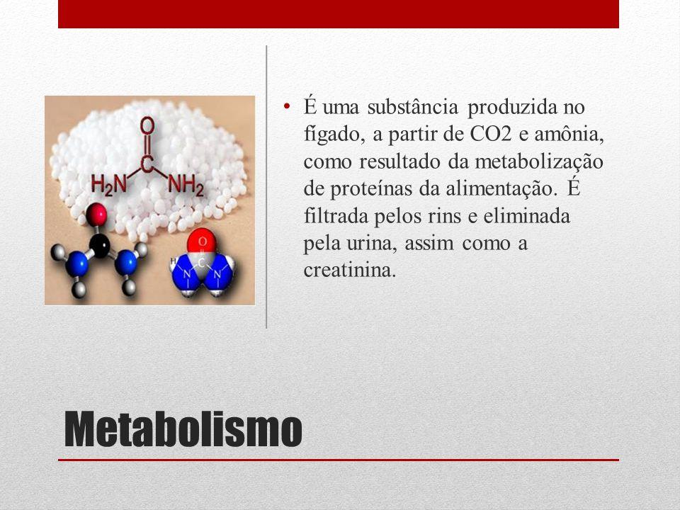 Metabolismo É uma substância produzida no fígado, a partir de CO2 e amônia, como resultado da metabolização de proteínas da alimentação.