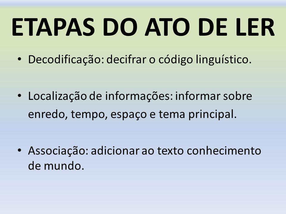 ETAPAS DO ATO DE LER Decodificação: decifrar o código linguístico. Localização de informações: informar sobre enredo, tempo, espaço e tema principal.