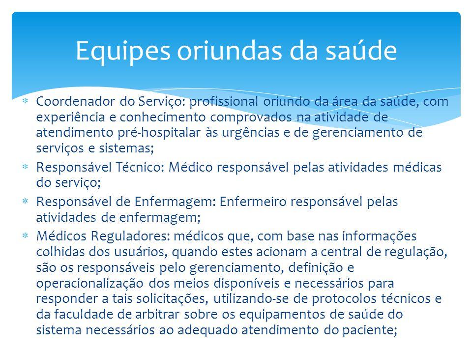  Coordenador do Serviço: profissional oriundo da área da saúde, com experiência e conhecimento comprovados na atividade de atendimento pré-hospitalar