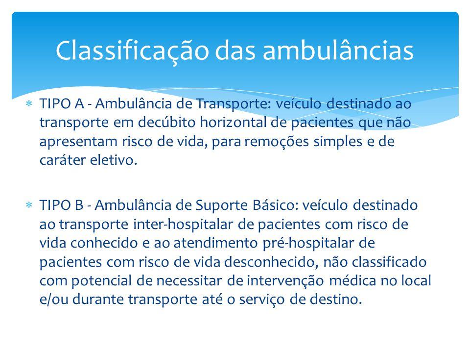  TIPO A - Ambulância de Transporte: veículo destinado ao transporte em decúbito horizontal de pacientes que não apresentam risco de vida, para remoções simples e de caráter eletivo.