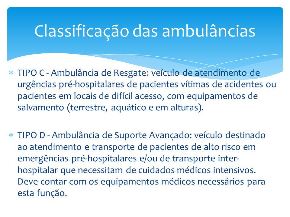  TIPO C - Ambulância de Resgate: veículo de atendimento de urgências pré-hospitalares de pacientes vítimas de acidentes ou pacientes em locais de dif