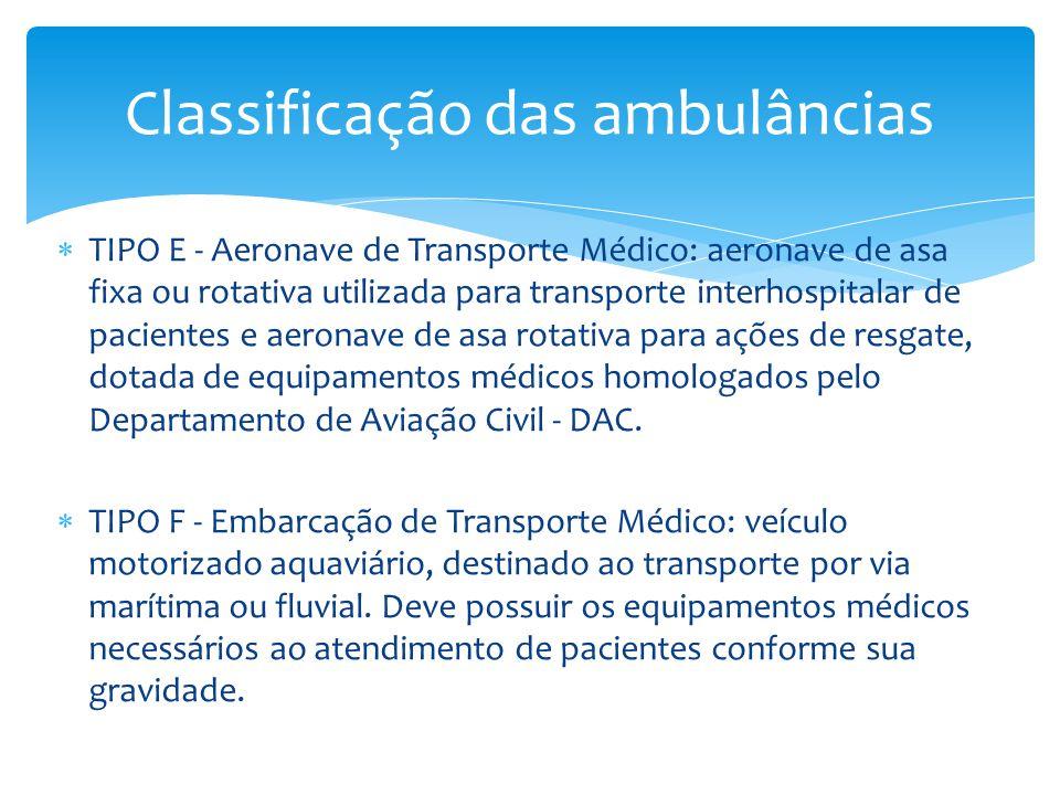  TIPO E - Aeronave de Transporte Médico: aeronave de asa fixa ou rotativa utilizada para transporte interhospitalar de pacientes e aeronave de asa rotativa para ações de resgate, dotada de equipamentos médicos homologados pelo Departamento de Aviação Civil - DAC.