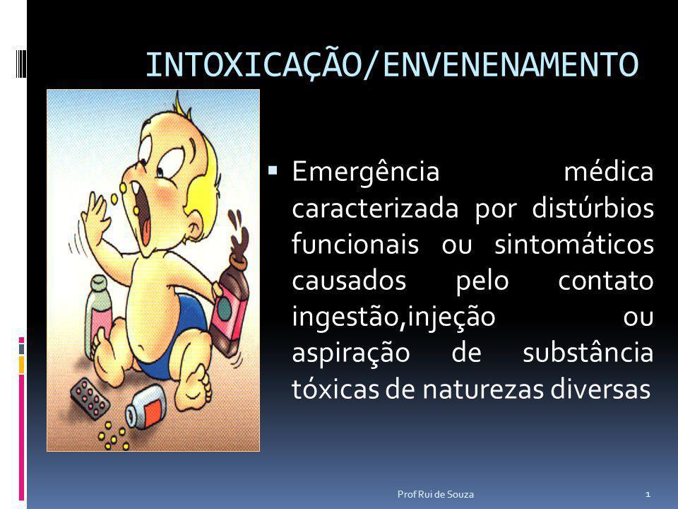 INTOXICAÇÃO/ENVENENAMENTO  Emergência médica caracterizada por distúrbios funcionais ou sintomáticos causados pelo contato ingestão,injeção ou aspira