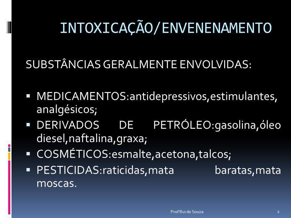 INTOXICAÇÃO/ENVENENAMENTO SUBSTÂNCIAS GERALMENTE ENVOLVIDAS:  MEDICAMENTOS:antidepressivos,estimulantes, analgésicos;  DERIVADOS DE PETRÓLEO:gasolin