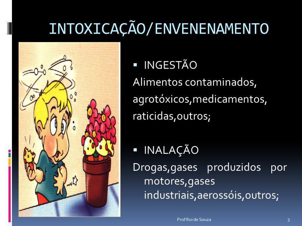 INTOXICAÇÃO/ENVENENAMENTO  INGESTÃO Alimentos contaminados, agrotóxicos,medicamentos, raticidas,outros;  INALAÇÃO Drogas,gases produzidos por motore