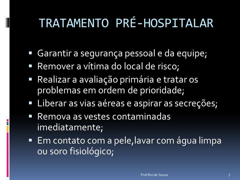 TRATAMENTO PRÉ-HOSPITALAR  Garantir a segurança pessoal e da equipe;  Remover a vítima do local de risco;  Realizar a avaliação primária e tratar o