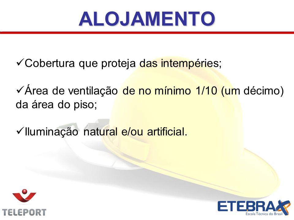 Cobertura que proteja das intempéries; Área de ventilação de no mínimo 1/10 (um décimo) da área do piso; Iluminação natural e/ou artificial.ALOJAMENTO