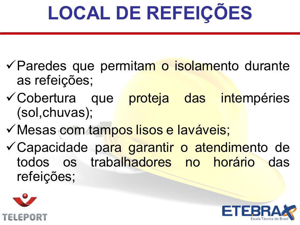 LOCAL DE REFEIÇÕES Paredes que permitam o isolamento durante as refeições; Cobertura que proteja das intempéries (sol,chuvas); Mesas com tampos lisos