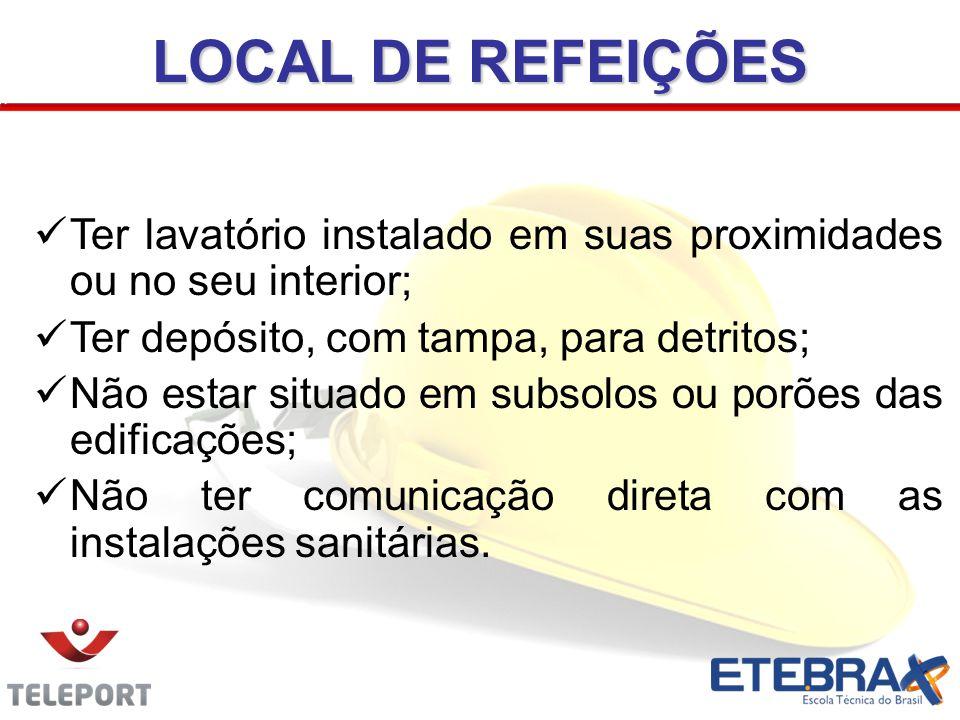 LOCAL DE REFEIÇÕES Ter lavatório instalado em suas proximidades ou no seu interior; Ter depósito, com tampa, para detritos; Não estar situado em subso