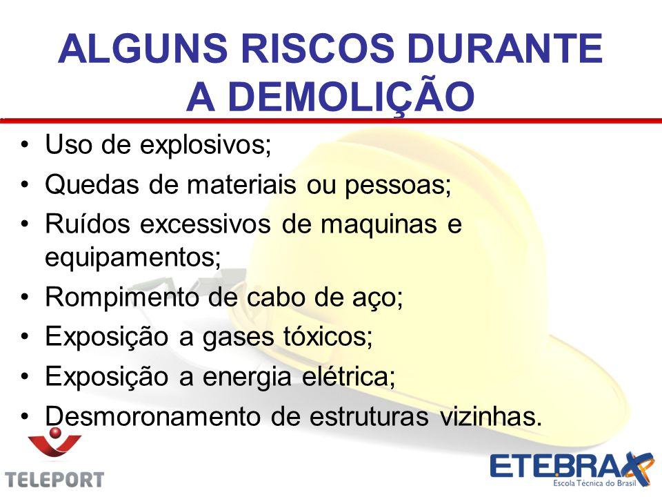 ALGUNS RISCOS DURANTE A DEMOLIÇÃO Uso de explosivos; Quedas de materiais ou pessoas; Ruídos excessivos de maquinas e equipamentos; Rompimento de cabo