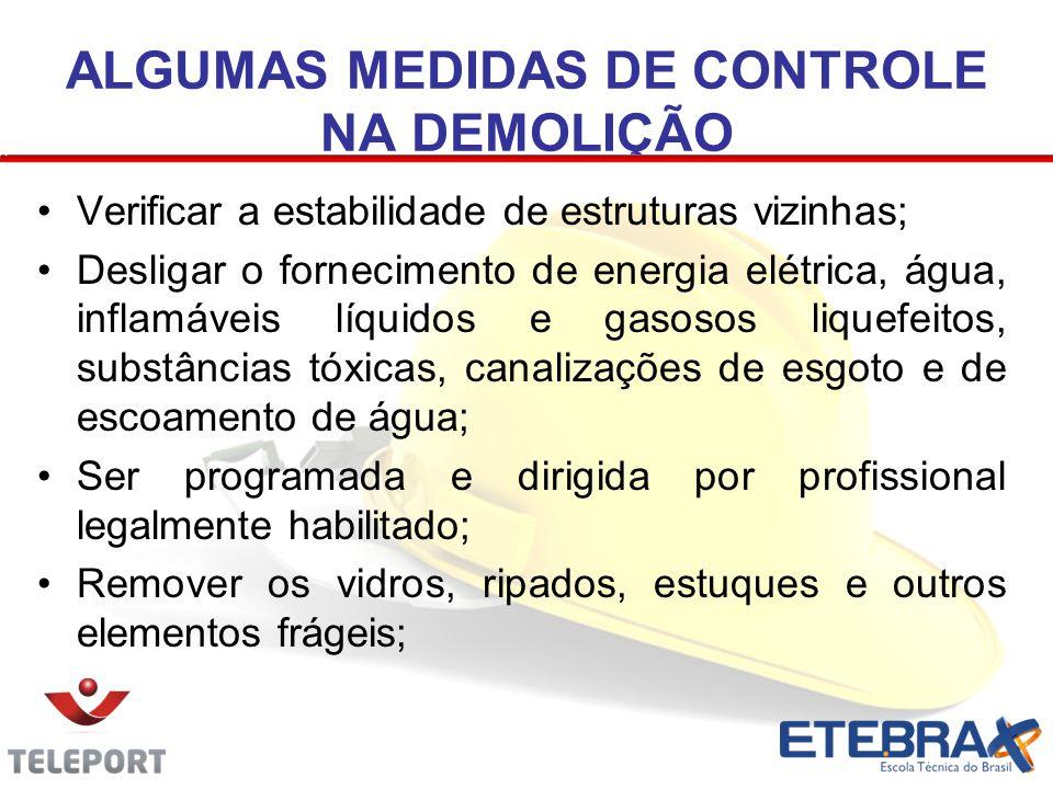 ALGUMAS MEDIDAS DE CONTROLE NA DEMOLIÇÃO Verificar a estabilidade de estruturas vizinhas; Desligar o fornecimento de energia elétrica, água, inflamáve