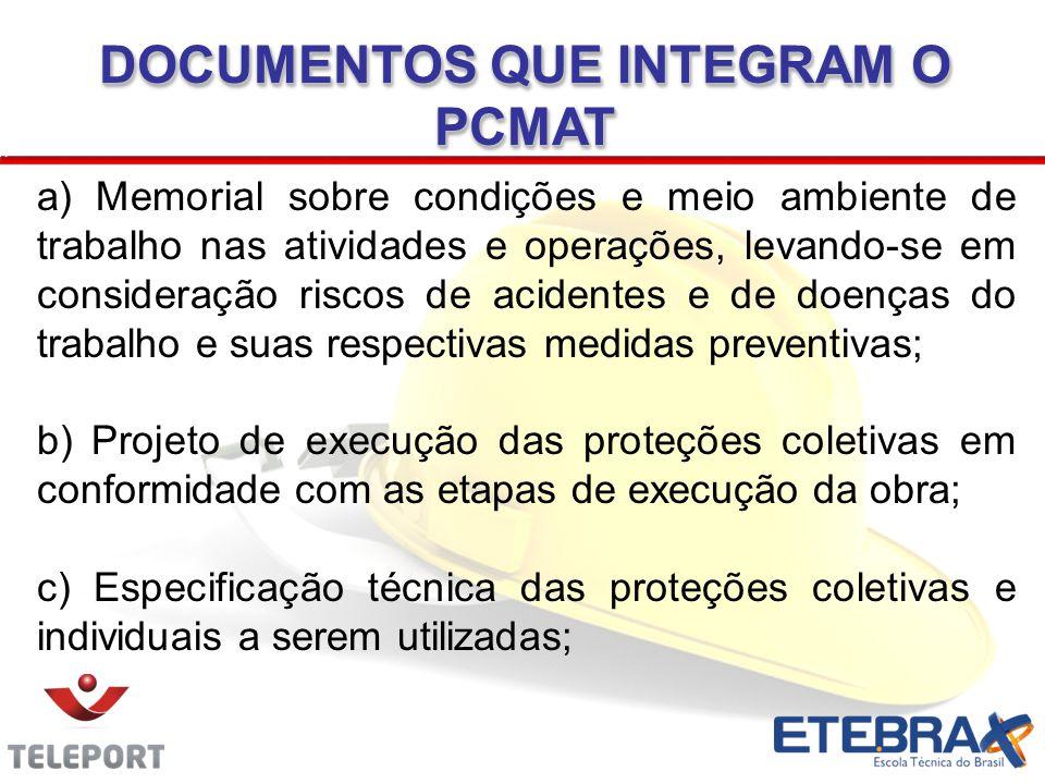 DOCUMENTOS QUE INTEGRAM O PCMAT a) Memorial sobre condições e meio ambiente de trabalho nas atividades e operações, levando-se em consideração riscos