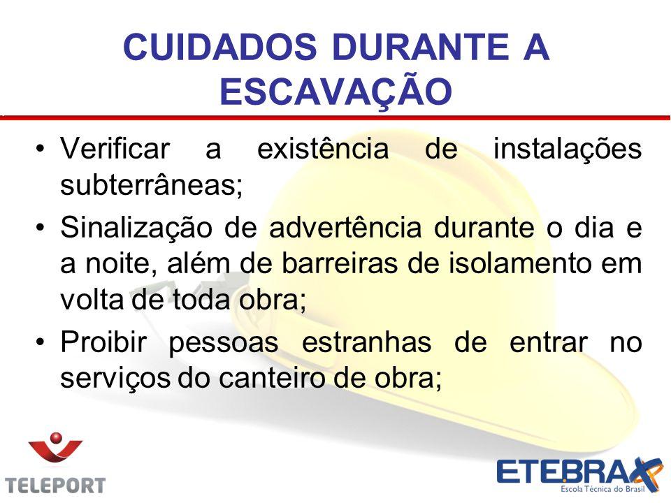 Verificar a existência de instalações subterrâneas; Sinalização de advertência durante o dia e a noite, além de barreiras de isolamento em volta de to