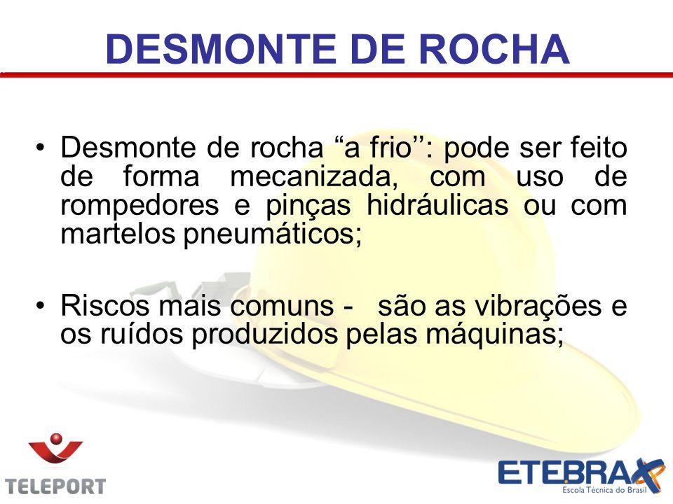 """DESMONTE DE ROCHA Desmonte de rocha """"a frio'': pode ser feito de forma mecanizada, com uso de rompedores e pinças hidráulicas ou com martelos pneumáti"""