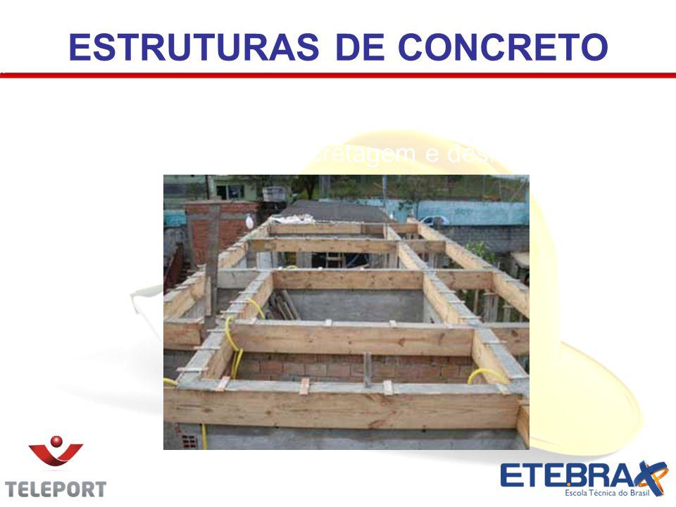 ESTRUTURAS DE CONCRETO Confecção de formas, cimbramento, colocação de armações de aço, concretagem e desforma.