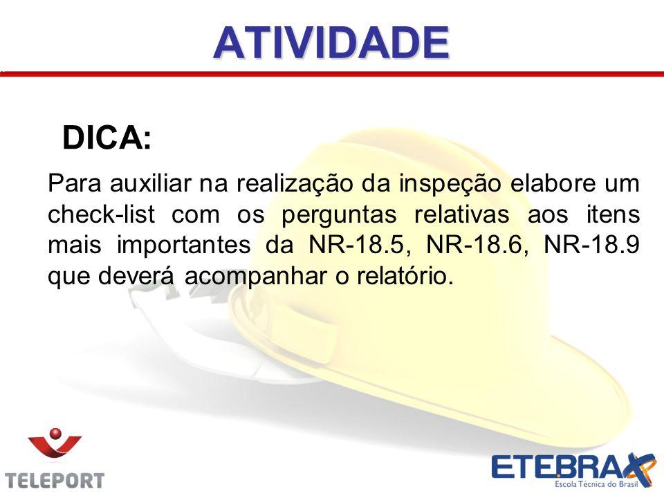2ª Parte: DDDICA Para auxiliar na realização da inspeção elabore um check-list com os perguntas relativas aos itens mais importantes da NR-18.5, NR-18