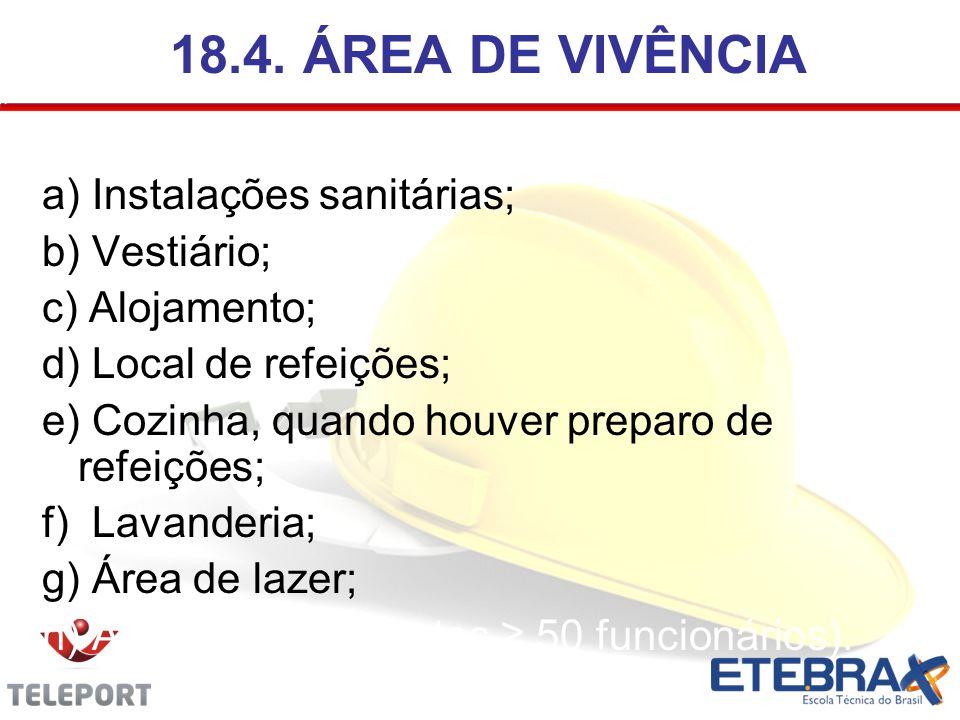18.4. ÁREA DE VIVÊNCIA a) Instalações sanitárias; b) Vestiário; c) Alojamento; d) Local de refeições; e) Cozinha, quando houver preparo de refeições;
