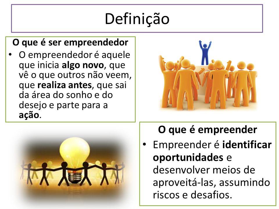 Definição O que é ser empreendedor O empreendedor é aquele que inicia algo novo, que vê o que outros não veem, que realiza antes, que sai da área do sonho e do desejo e parte para a ação.