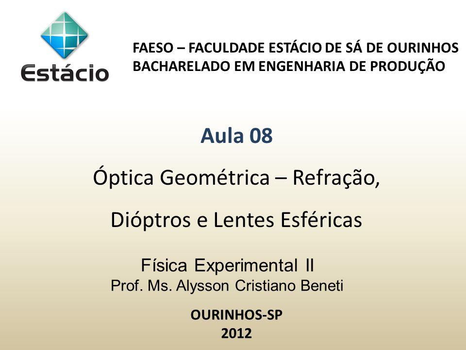 Regular:Difusa: Fenômenos da Óptica Geométrica: Refração Aplicações: Refração em lâmina de faces paralelas, prismas e lentes finas (delgadas)