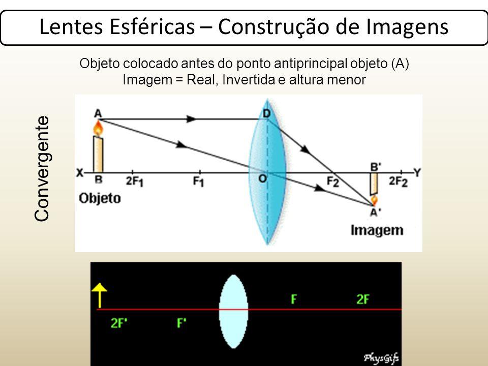 Lentes Esféricas – Construção de Imagens Objeto colocado antes do ponto antiprincipal objeto (A) Imagem = Real, Invertida e altura menor Convergente