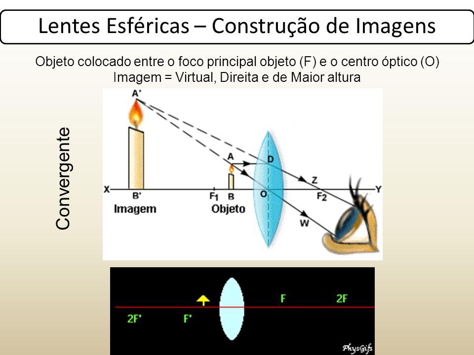 Lentes Esféricas – Construção de Imagens Objeto colocado entre o foco principal objeto (F) e o centro óptico (O) Imagem = Virtual, Direita e de Maior altura Convergente