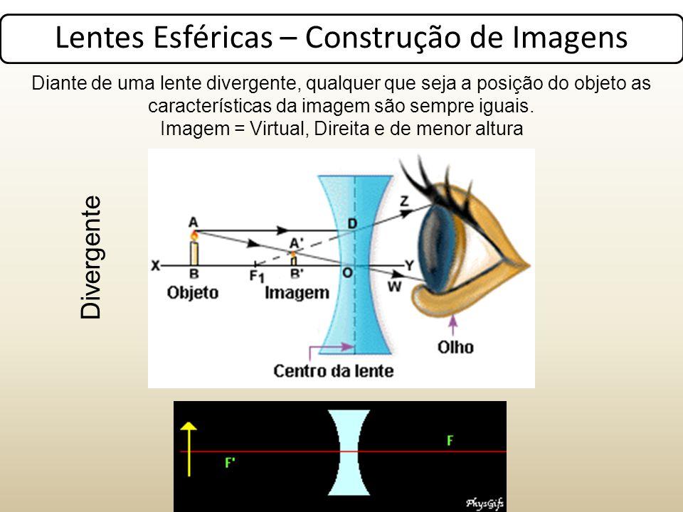 Lentes Esféricas – Construção de Imagens Diante de uma lente divergente, qualquer que seja a posição do objeto as características da imagem são sempre iguais.