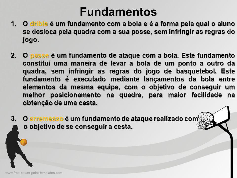 Fundamentos 1.O drible é um fundamento com a bola e é a forma pela qual o aluno se desloca pela quadra com a sua posse, sem infringir as regras do jogo.