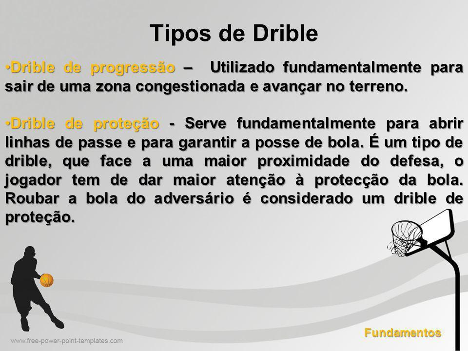 Tipos de Drible Drible de progressão – Utilizado fundamentalmente para sair de uma zona congestionada e avançar no terreno.Drible de progressão – Utilizado fundamentalmente para sair de uma zona congestionada e avançar no terreno.