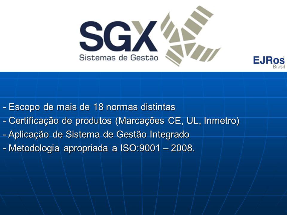 - Escopo de mais de 18 normas distintas - Certificação de produtos (Marcações CE, UL, Inmetro) - Aplicação de Sistema de Gestão Integrado - Metodologi